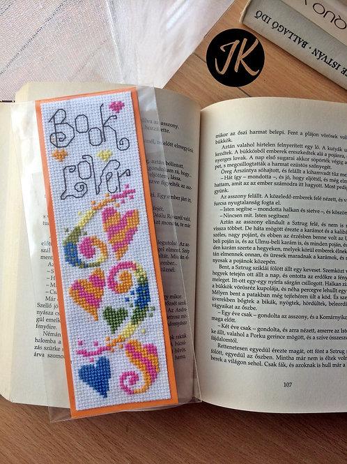 Book lover, könyvjelző, keresztszemes hímzéssel
