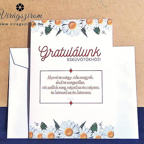 Esküvőre,igés, borítékos, képeslap, préselt virág reprodukció