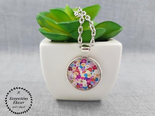 Teremtett világ: VirágGömb, ezüst színű üveglencsés nyaklánc