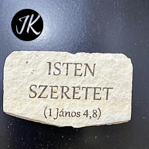 Isten szeretet 1 János 4,8 - mészkő, igés hűtőmágnes
