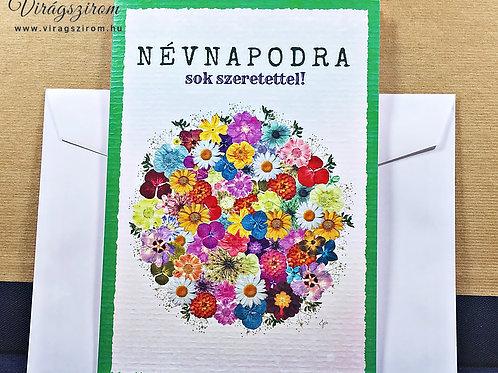 Névnapodra sok szeretettel,borítékos, képeslap, valódi préselt virág reprodukció