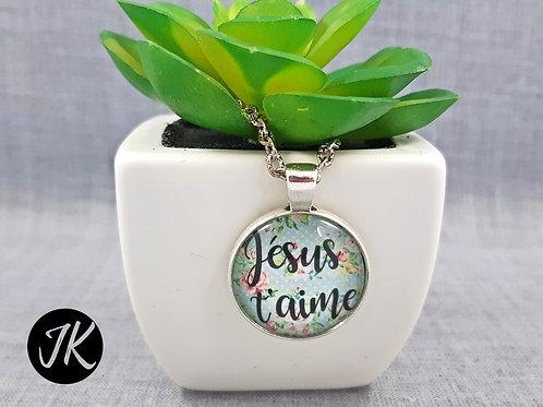 Jésus t'aime - igés, üveglencsés medálos nyaklánc (francia)