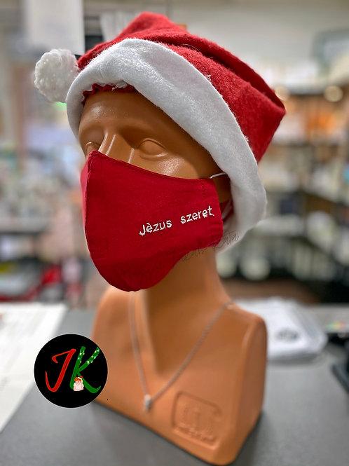 Jézus szeret - mosható, textil maszk,piros, férfi. Limitált, téli kiadás!