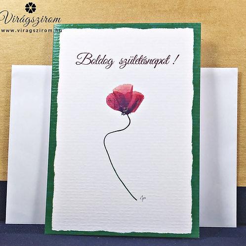 Boldog születésnapot,igés, borítékos, képeslap, valódi préselt virág reprodukció