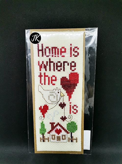 Home is where the heart is - könyvjelző, keresztszemes hímzéssel