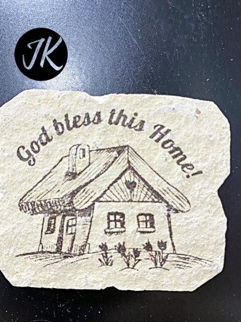 God bless this Home! - mészkő, igés hűtőmágnes