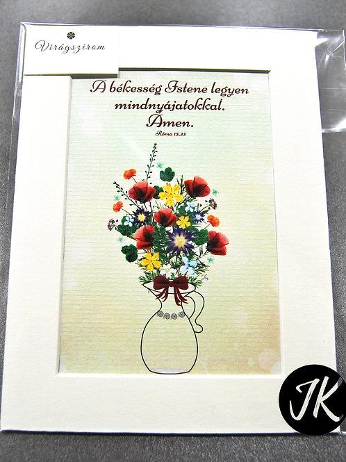 A békesség Istene legyen .., igés, virágnyomat, falikép, paszpartuval 15*20