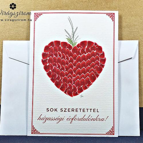 Házassági évfordulónkra, borítékos, képeslap,valódi préselt virág reprodukció 2.