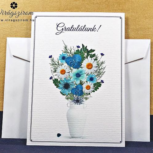 Gratulálunk, borítékos, képeslap,valódi préselt virág reprodukcióval
