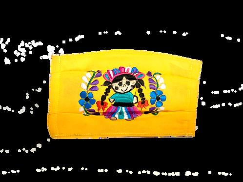 Handmade Artisan Face Mask - Yellow Doll