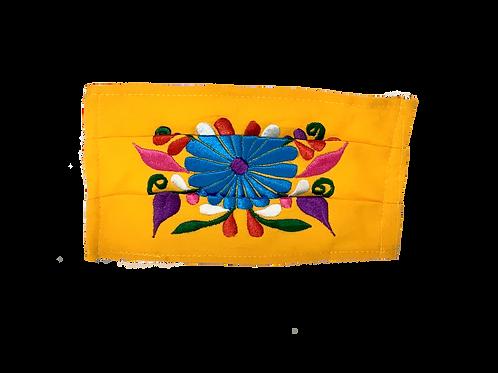 Handmade Artisan Face Mask - Yellow Flowers