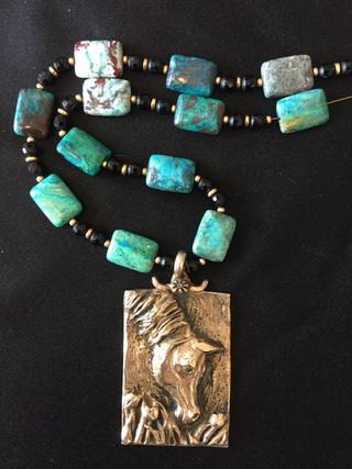 Arabian Horse Jewelry in the Flowers Bronze Pendant necklace