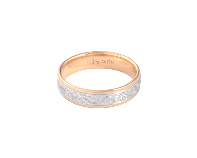 Classic Gold Band with Cursive Engraving - Men