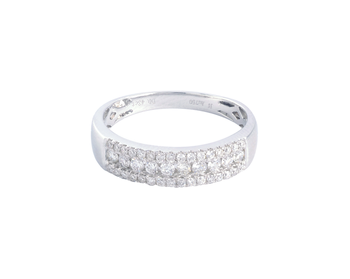 Three Row Diamond Half Eternity Band - Women