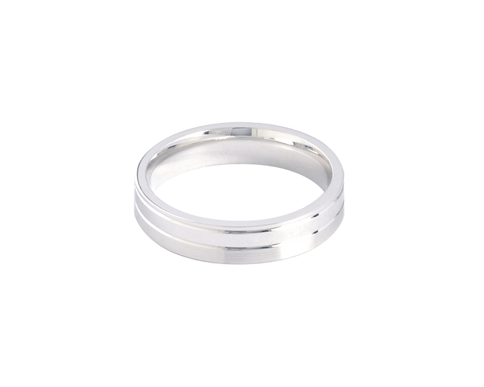 White Gold Matte Band with Polished Highlights - Men
