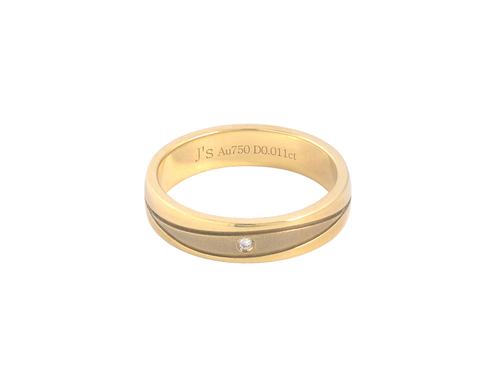 Diamond Ingrained Gold Stipple Highlight Band - Women