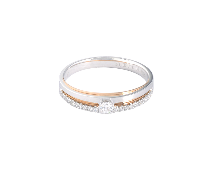 Diamond Embellished Two Tone Gold Band - Women
