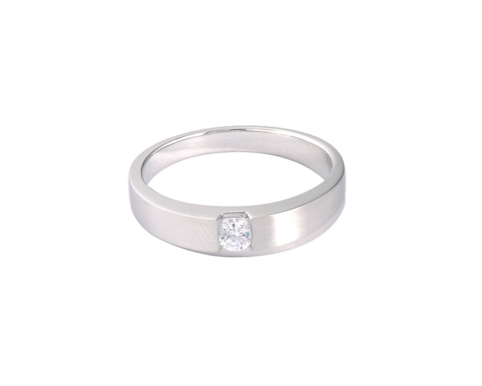 Diamond Ingrained White Gold Matte Band with Polished Highlight - Men