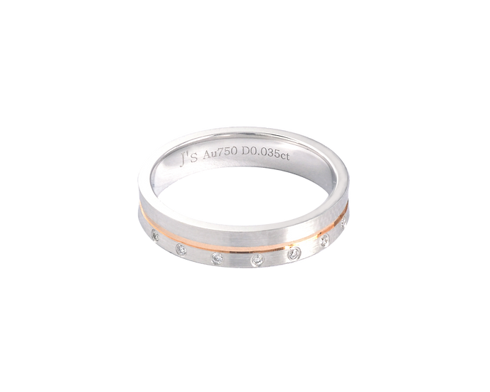 Diamond Accented Two Tone Gold Matte Band with Polished Highlight - Women