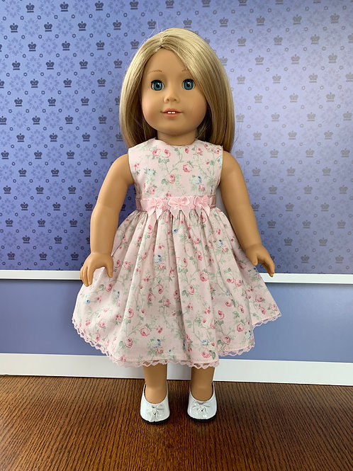 "Tiny Rose Print Pink Pastel Sleeveless Dress for 18"" Doll"