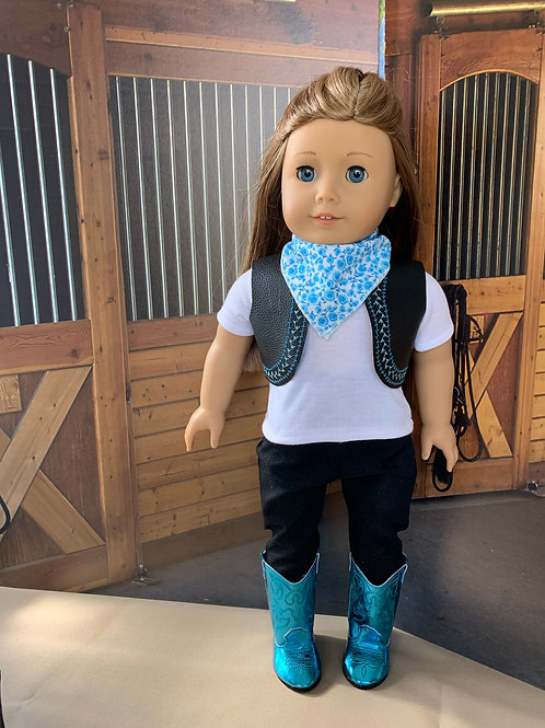 "Teal & Black Cowgirl Outfit for 18"" doll"