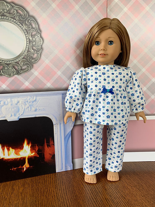 "Blue Flowers Flannel Pajamas for 18"" Doll"
