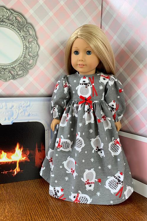 "Polar Bear Print Flannel Nightgown For 18"" Doll"