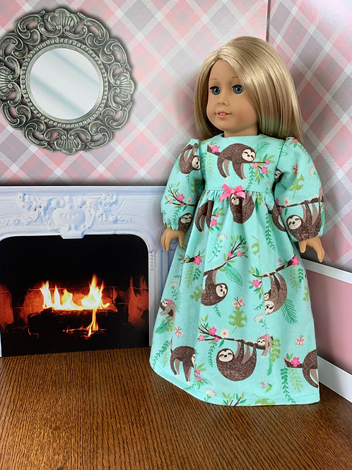 """Sloth Print Flannel Nightgown For 18"""" Doll"""