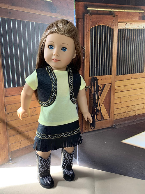 "Yellow & Black Cowgirl Outfit with Fringed Skirt for 18"" doll"