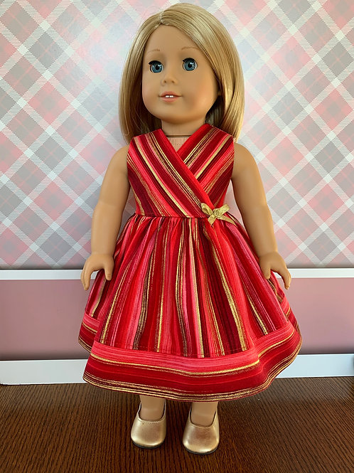 """Red & Gold Striped Valentines Dress for 18""""Doll"""