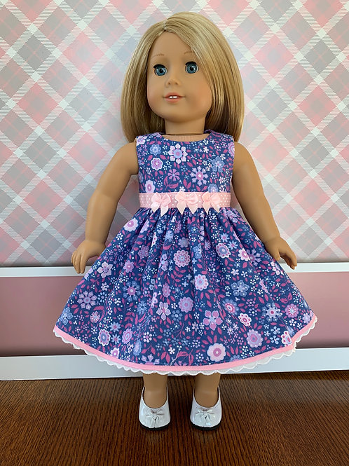 "Blue Floral Print Dress for 18"" Doll"