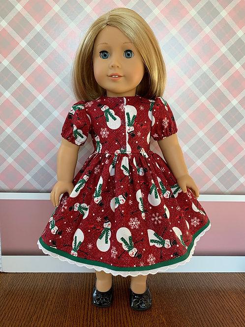 "Snowman Christmas Dress for 18"" Dolls"