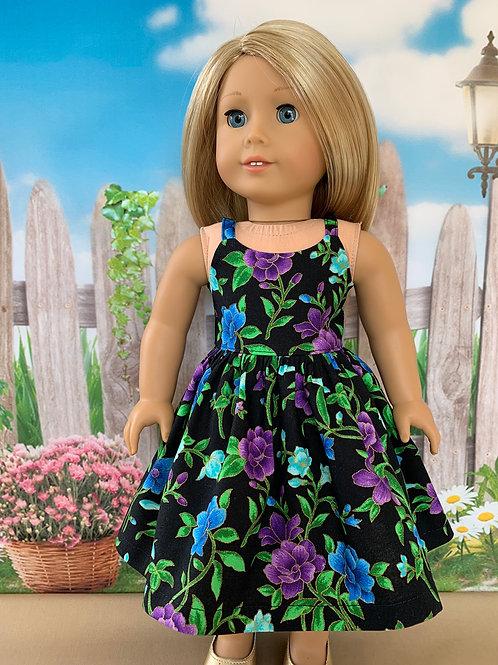 "Purple & Blue Print Sundress for 18"" Doll"