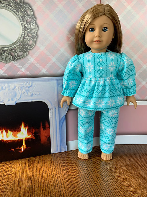 "Aqua Snowflake, Flannel Pajamas for 18"" Doll"