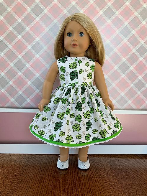 "Green and White Shamrock Dress for 18"" Dolls"