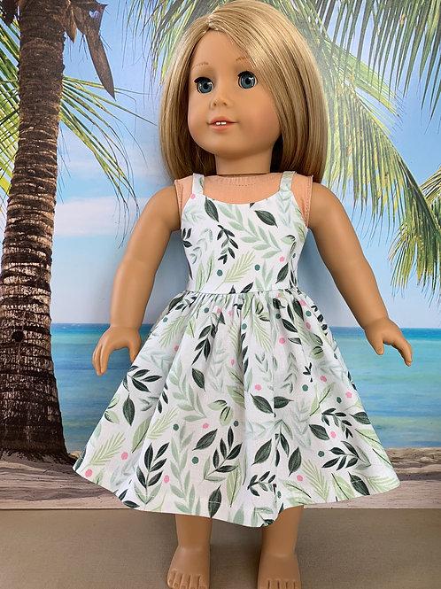 "Green Leaf Print Sundress for18"" Doll"