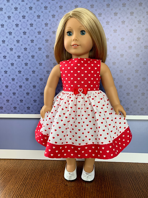 """Red and White Mini Hearts Sleeveless Dress for 18"""" Doll"""