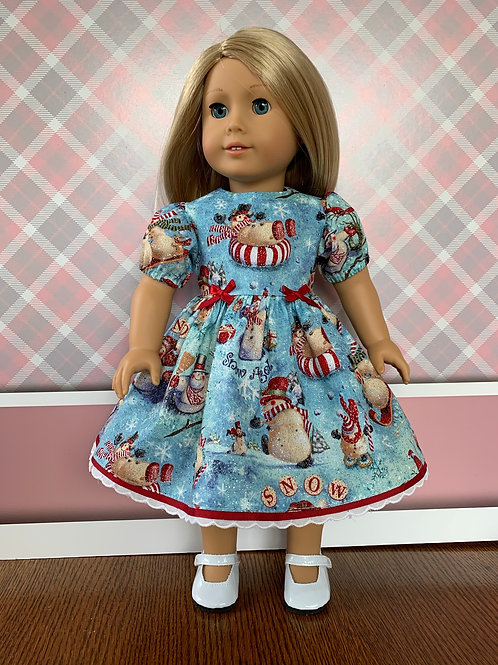 "Snowman Print Dress for 18"" Doll"