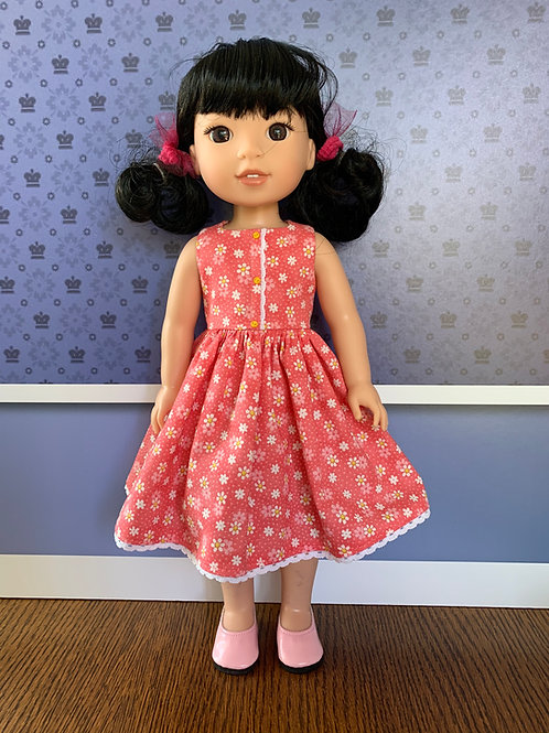 Coral, Mini Floral Dress for Wellie Wisher