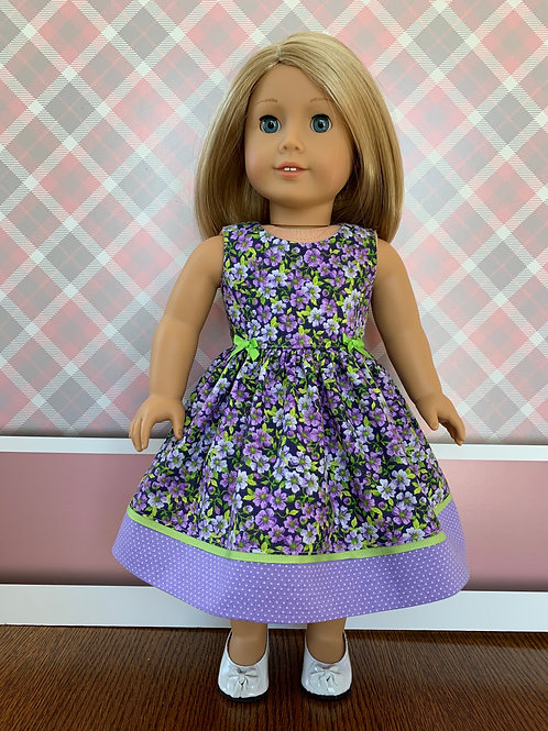"Purple Floral Print Dress for 18"" Doll"