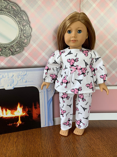 """Pink Poodle Flannel Pajamas for 18""""Doll"""