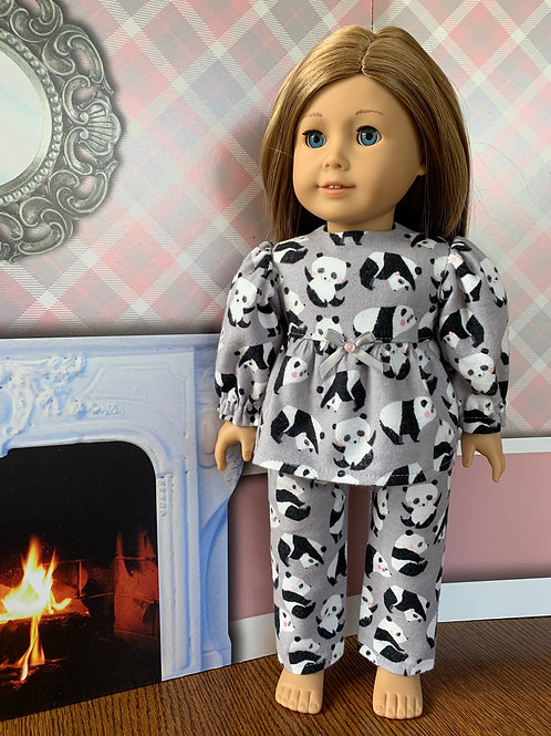 "Gray, Panda Flannel Pajamas for 18"" Dolls"