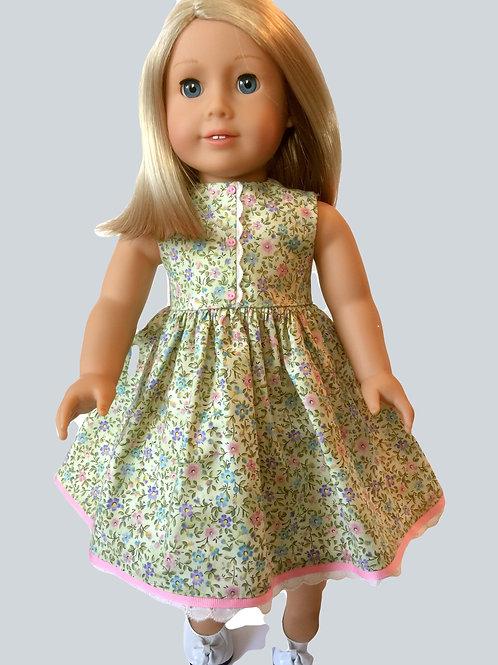Mini floral print dress with pink trim