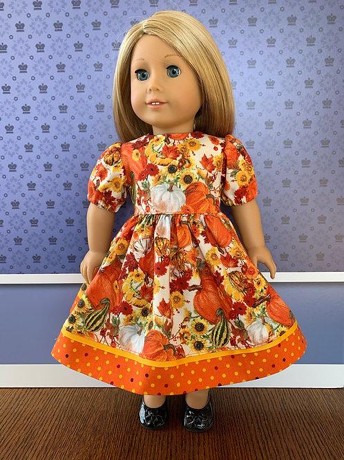 """Orange Harvest Print Dress for 18"""" doll"""