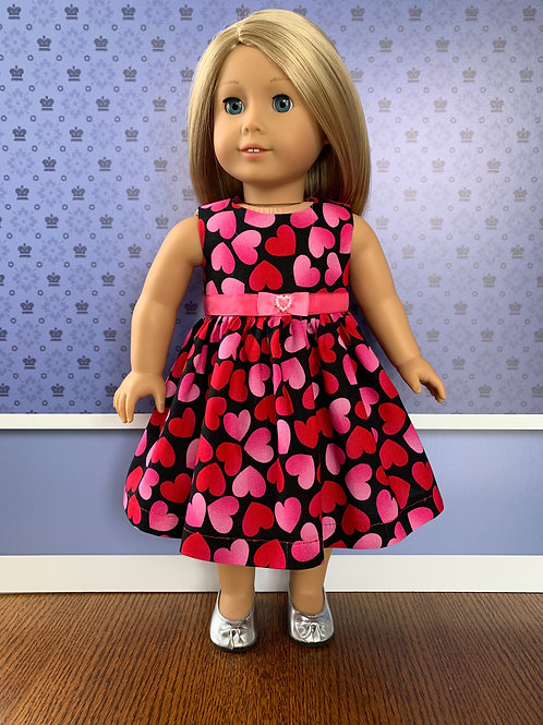 """Hearts on Black Background Sleeveless Dress for 18"""" Doll"""