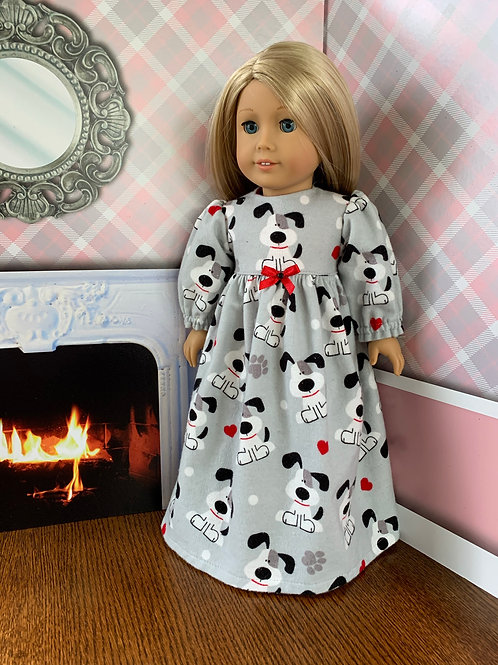 """Puppy Print Flannel Nightgown For 18"""" Doll"""