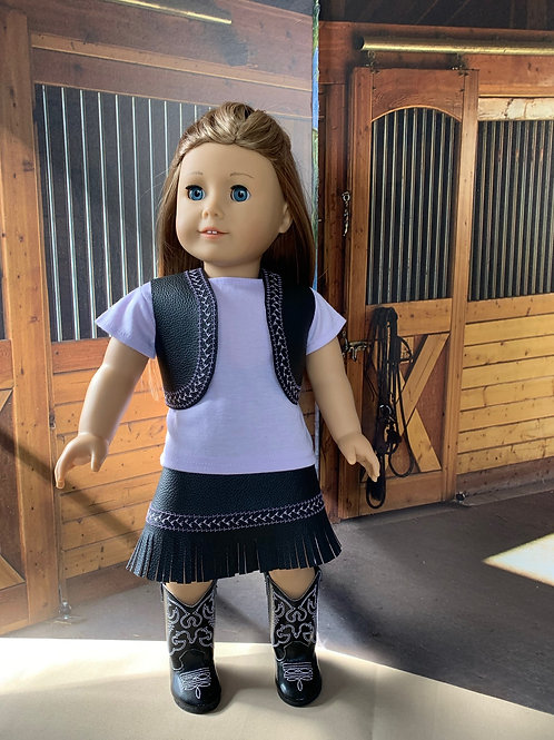 "Lavender and Black CowgirlOutfit with Fringed Skirt for 18"" doll"
