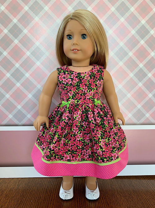 """Pink Floral Print Dress for 18"""" Doll"""