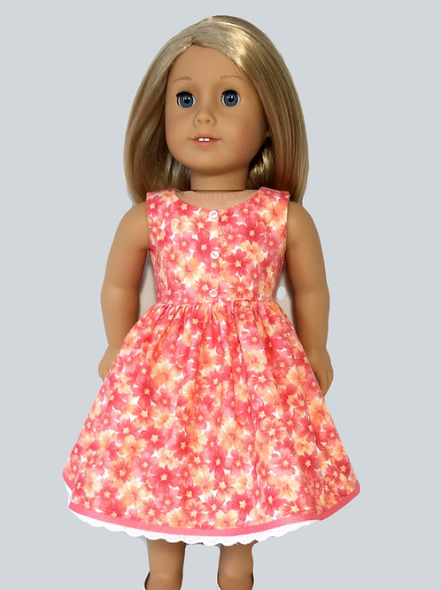 Coral, floral print dress with princess seaming