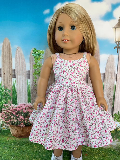 "Pink Mini Floral Sundress for 18"" Doll"